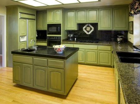 Olive Green Cabinets in a Kitchen